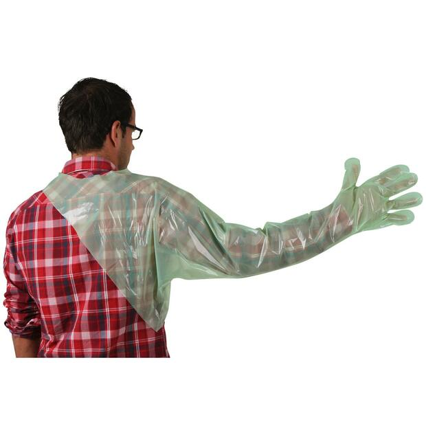 Disposable gloves VETtop with shoulder protection green