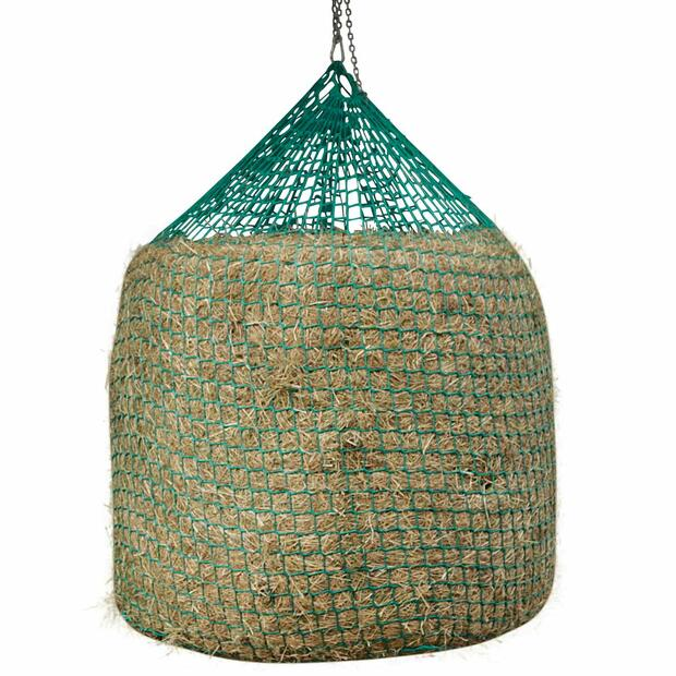 Hay net for round bales for hanging